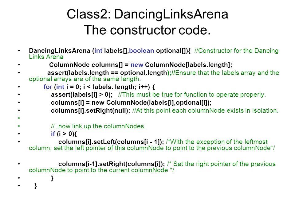 Class2: DancingLinksArena The constructor code.