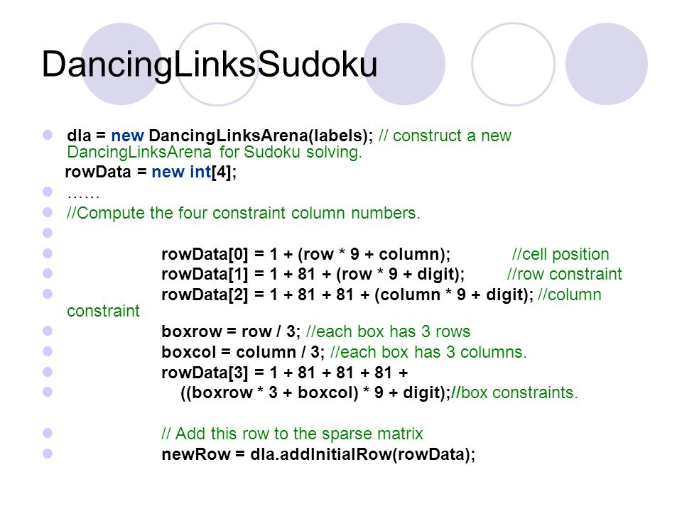 DancingLinksSudoku dla = new DancingLinksArena(labels); // construct a new DancingLinksArena for Sudoku solving.