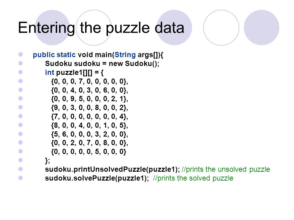 Entering the puzzle data