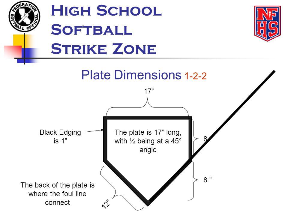 High School Softball Strike Zone Plate Dimensions 1-2-2 17 8