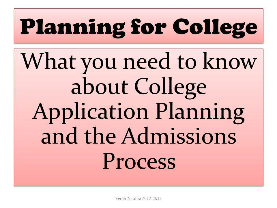 Planning for College What you need to know about College Application Planning and the Admissions Process.