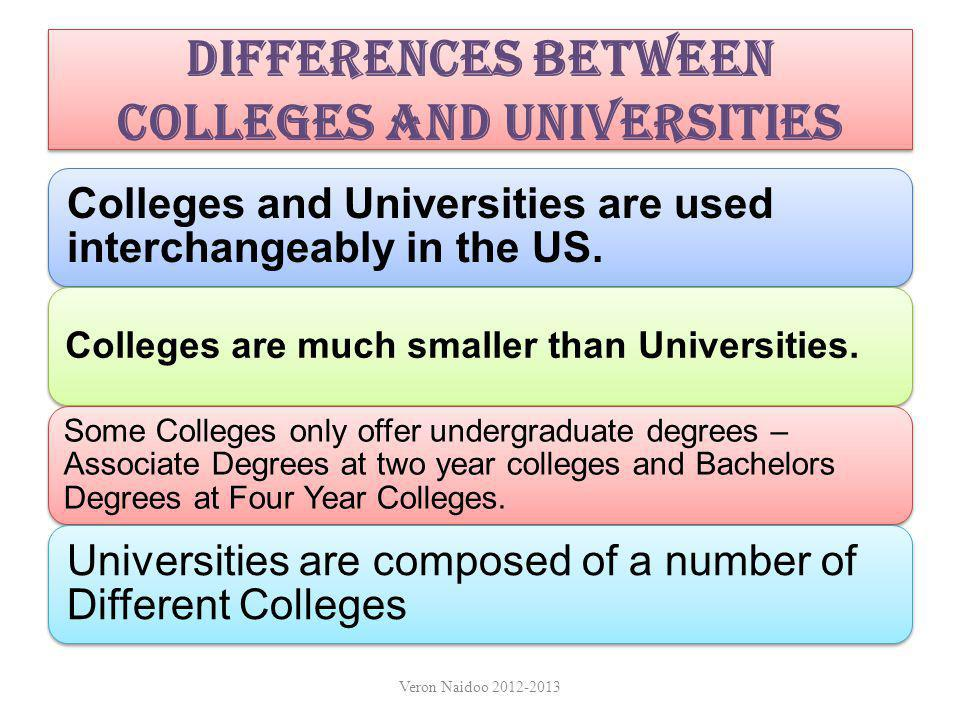 Differences between Colleges and Universities