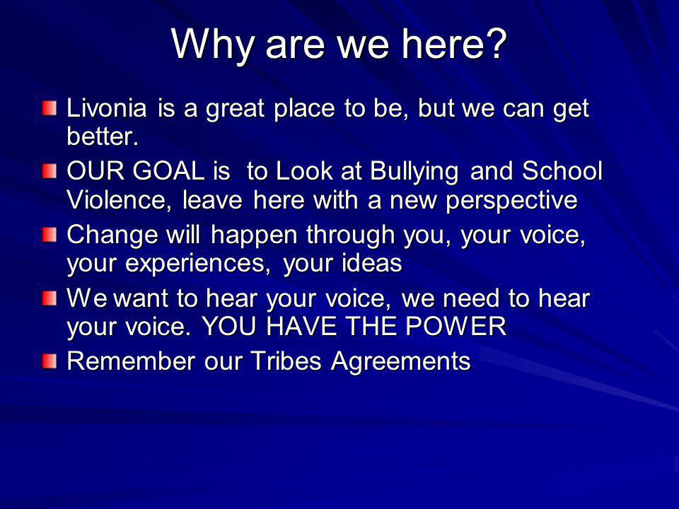 Why are we here Livonia is a great place to be, but we can get better.