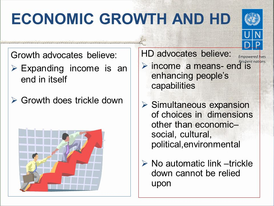ECONOMIC GROWTH AND HD Growth advocates believe: HD advocates believe: