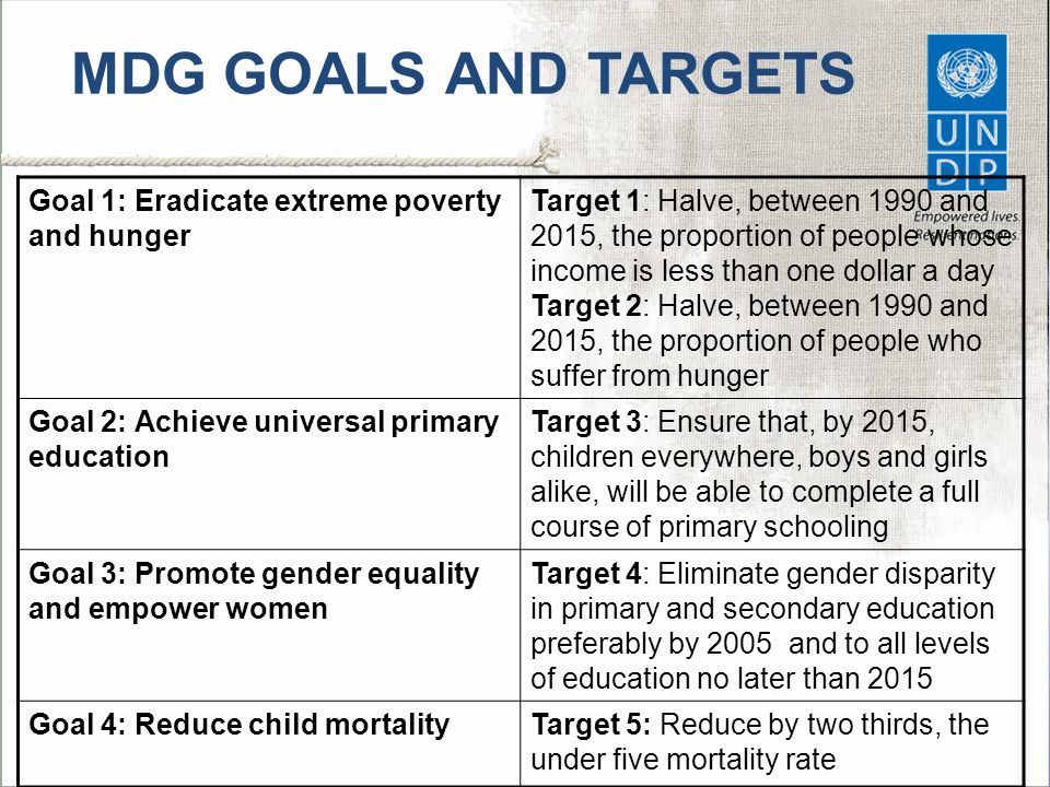 MDG GOALS AND TARGETS Goal 1: Eradicate extreme poverty and hunger