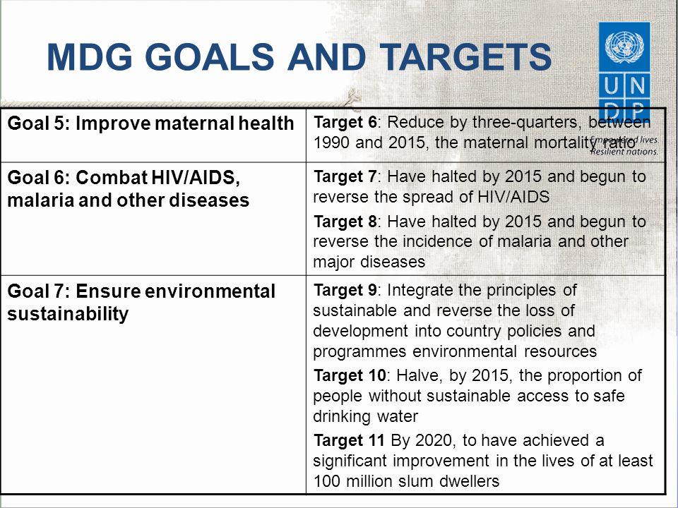 MDG GOALS AND TARGETS Goal 5: Improve maternal health