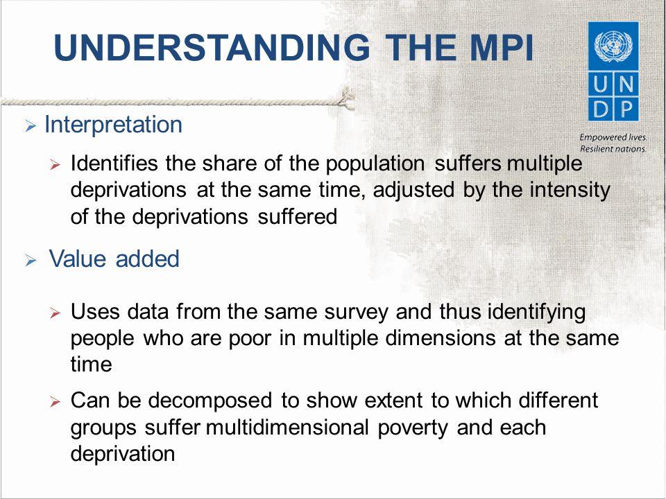 UNDERSTANDING THE MPI Interpretation Value added