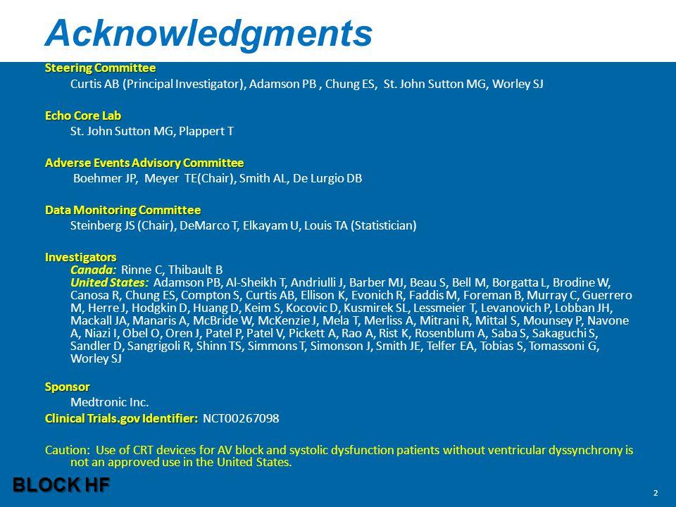 Acknowledgments BLOCK HF Steering Committee