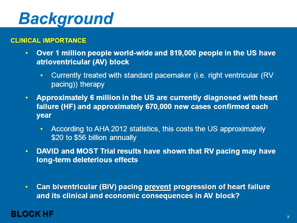 Background Clinical Importance. Over 1 million people world-wide and 819,000 people in the US have atrioventricular (AV) block.