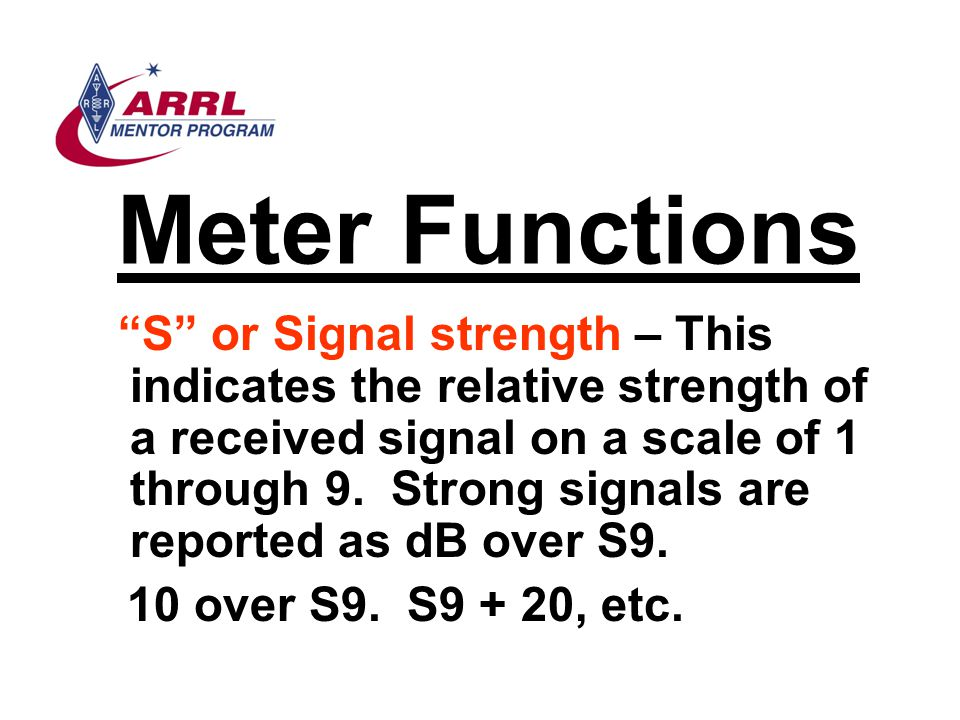 Meter Functions 10 over S9. S9 + 20, etc.