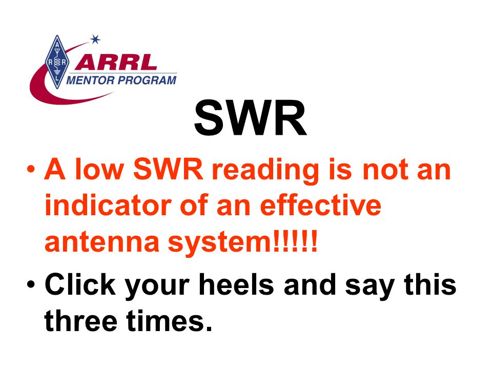 SWR A low SWR reading is not an indicator of an effective antenna system!!!!.