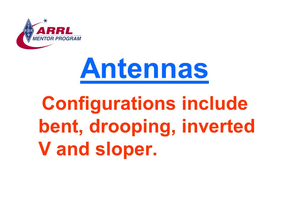 Antennas Configurations include bent, drooping, inverted V and sloper.