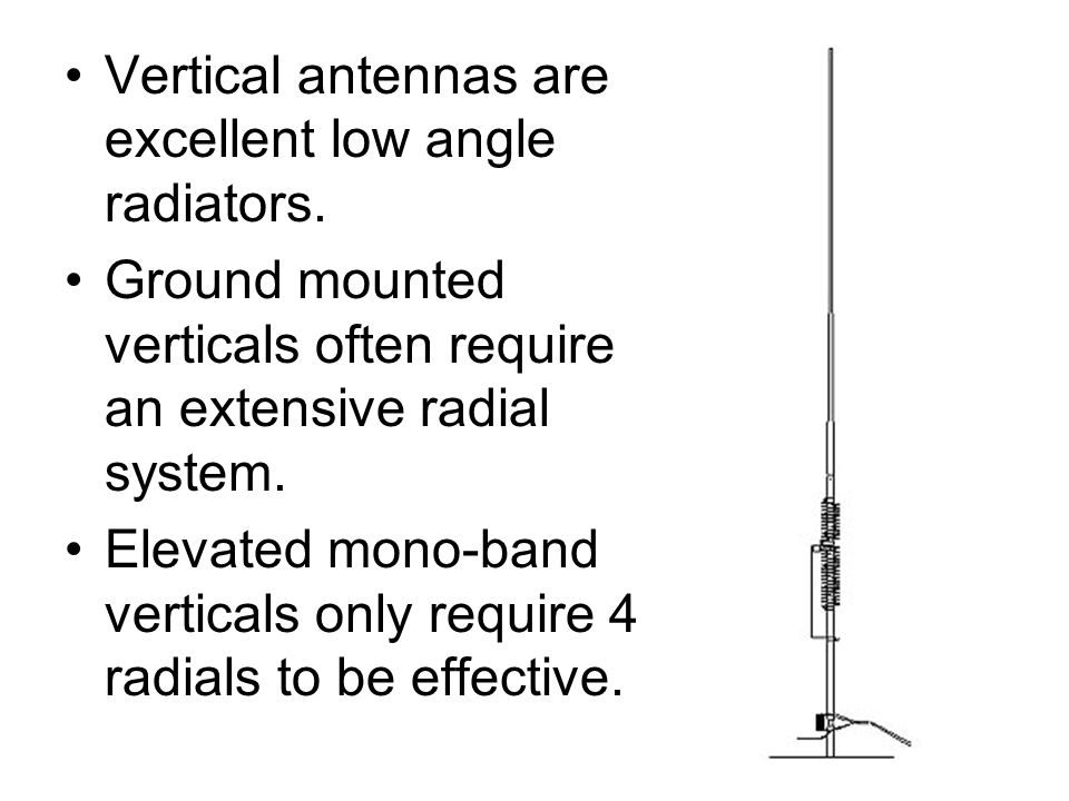 Vertical antennas are excellent low angle radiators.