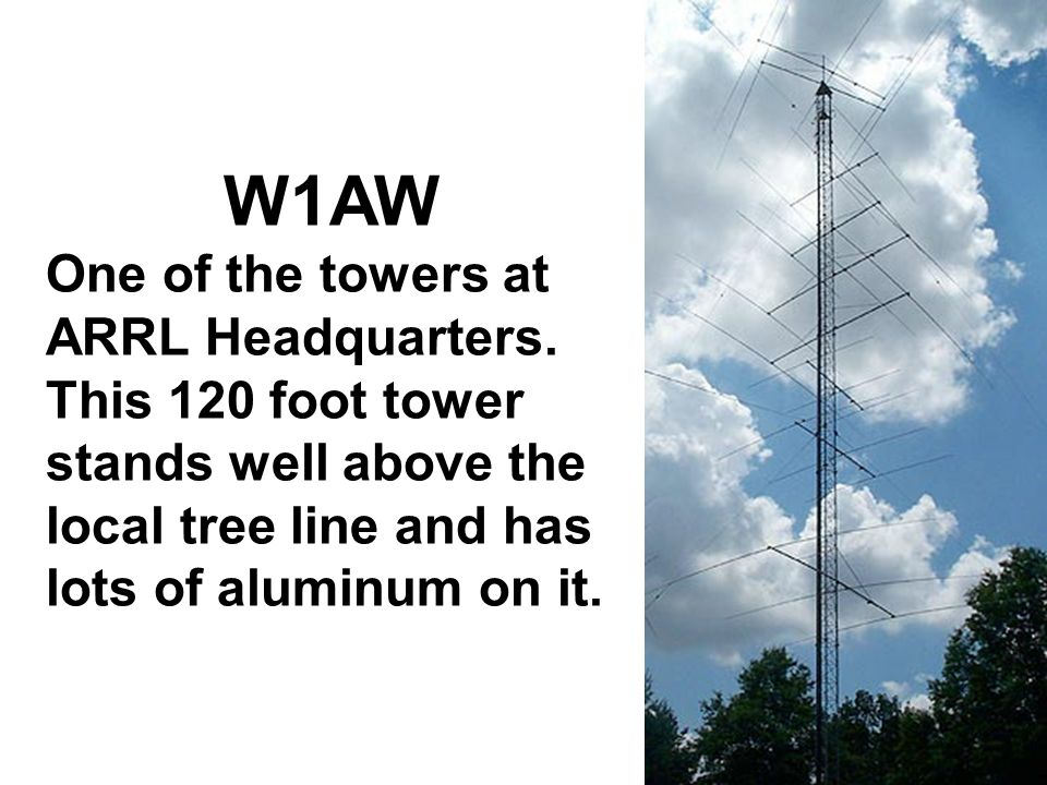 Antennas W1AW. One of the towers at ARRL Headquarters.