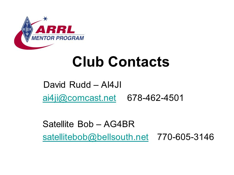 Club Contacts David Rudd – AI4JI ai4ji@comcast.net 678-462-4501