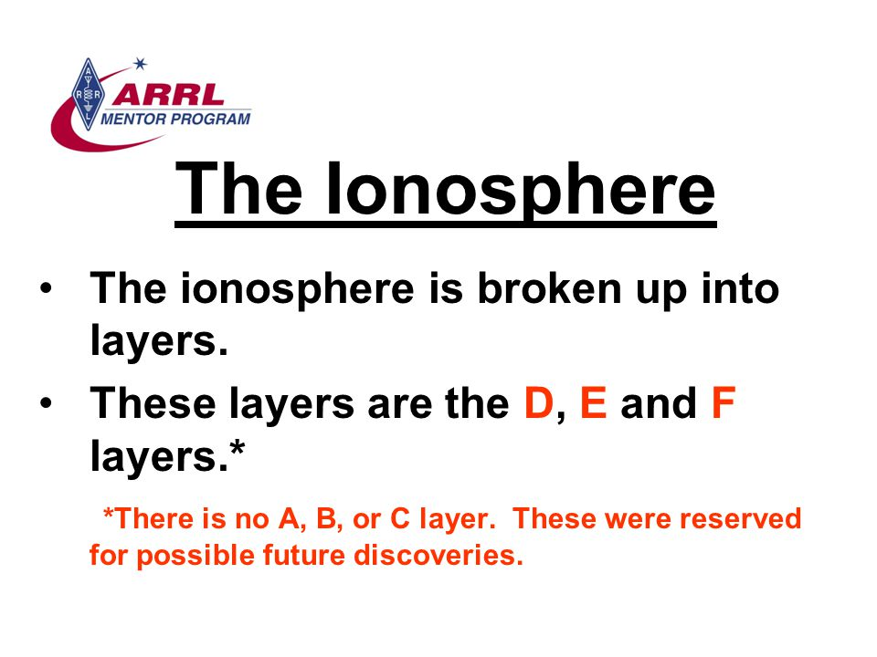 The Ionosphere The ionosphere is broken up into layers.