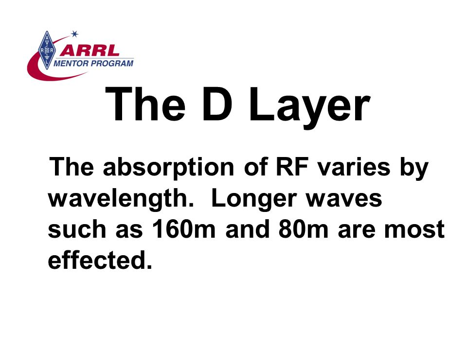 The D Layer The absorption of RF varies by wavelength.
