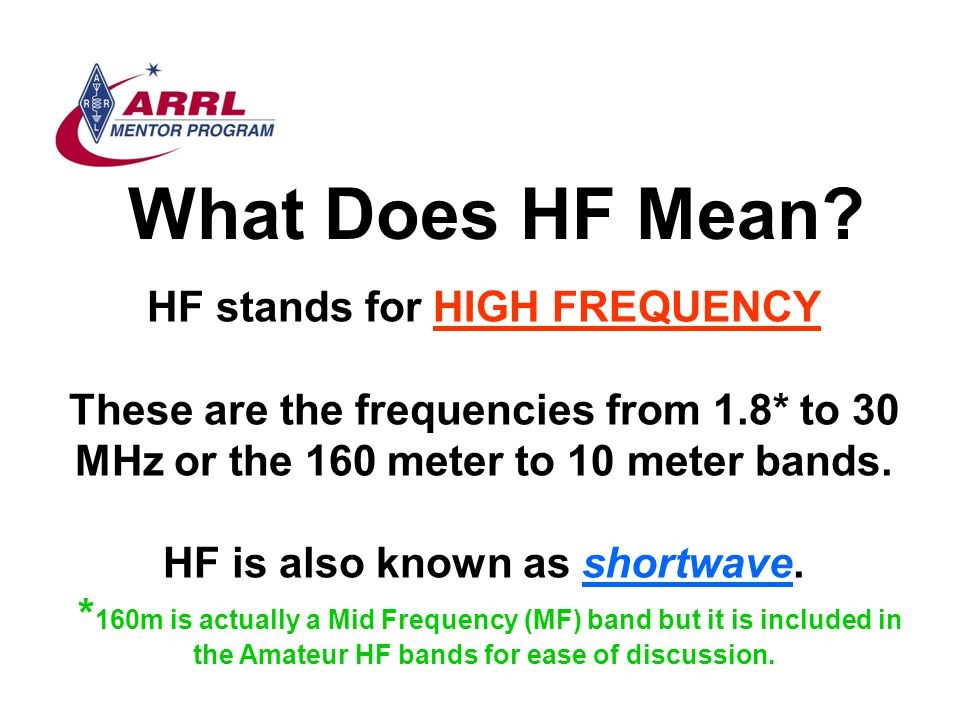 HF stands for HIGH FREQUENCY HF is also known as shortwave.