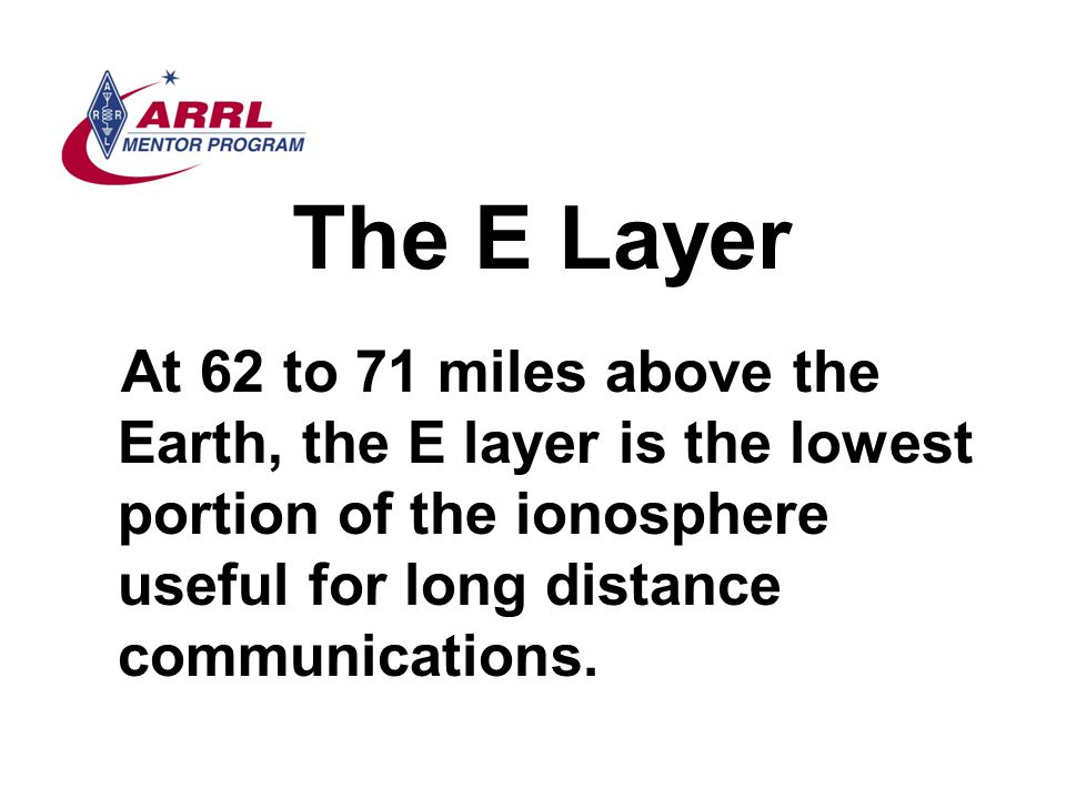 The E Layer At 62 to 71 miles above the Earth, the E layer is the lowest portion of the ionosphere useful for long distance communications.