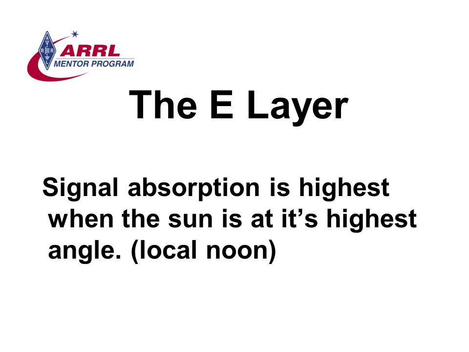 The E Layer Signal absorption is highest when the sun is at it's highest angle. (local noon)