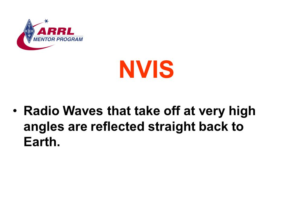 NVIS Radio Waves that take off at very high angles are reflected straight back to Earth.