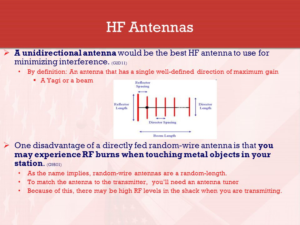 HF Antennas A unidirectional antenna would be the best HF antenna to use for minimizing interference. (G2D11)