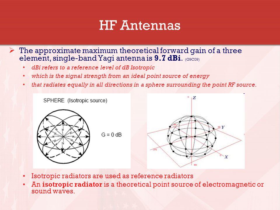 HF Antennas The approximate maximum theoretical forward gain of a three element, single-band Yagi antenna is 9.7 dBi. (G9C09)