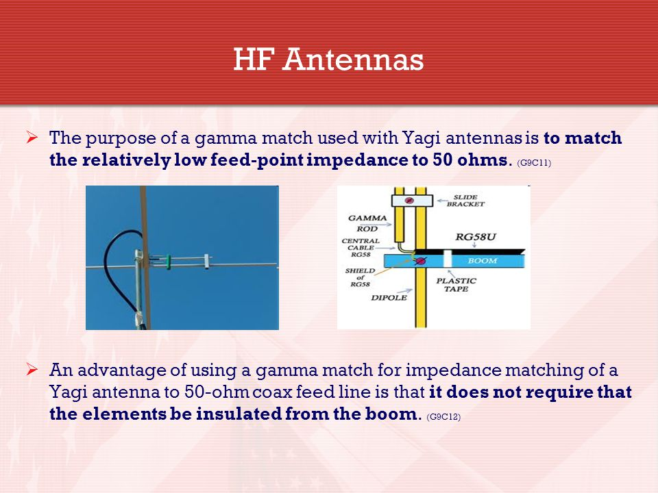 HF Antennas The purpose of a gamma match used with Yagi antennas is to match the relatively low feed-point impedance to 50 ohms. (G9C11)