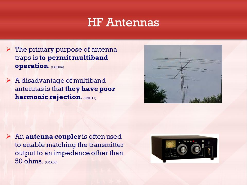HF Antennas The primary purpose of antenna traps is to permit multiband operation. (G9D04)