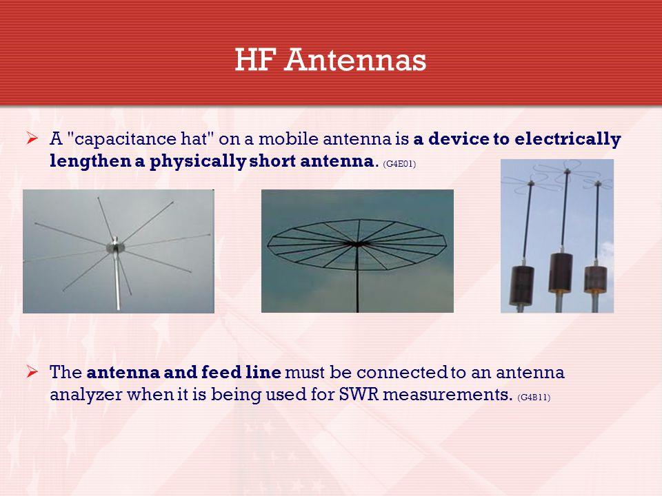HF Antennas A capacitance hat on a mobile antenna is a device to electrically lengthen a physically short antenna. (G4E01)