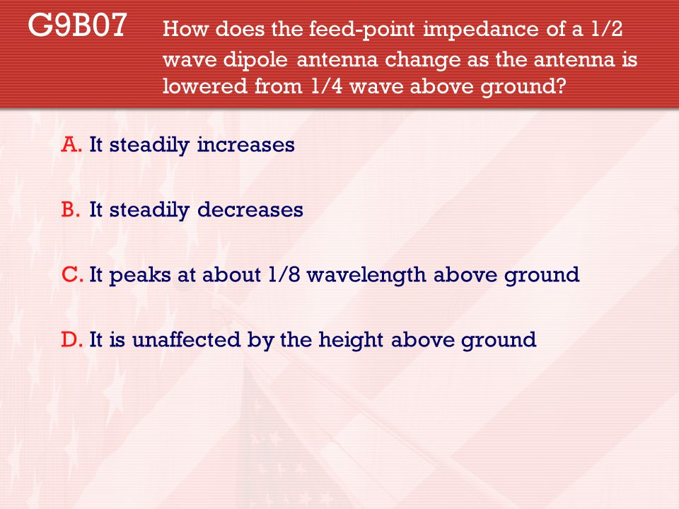 G9B07. How does the feed-point impedance of a 1/2