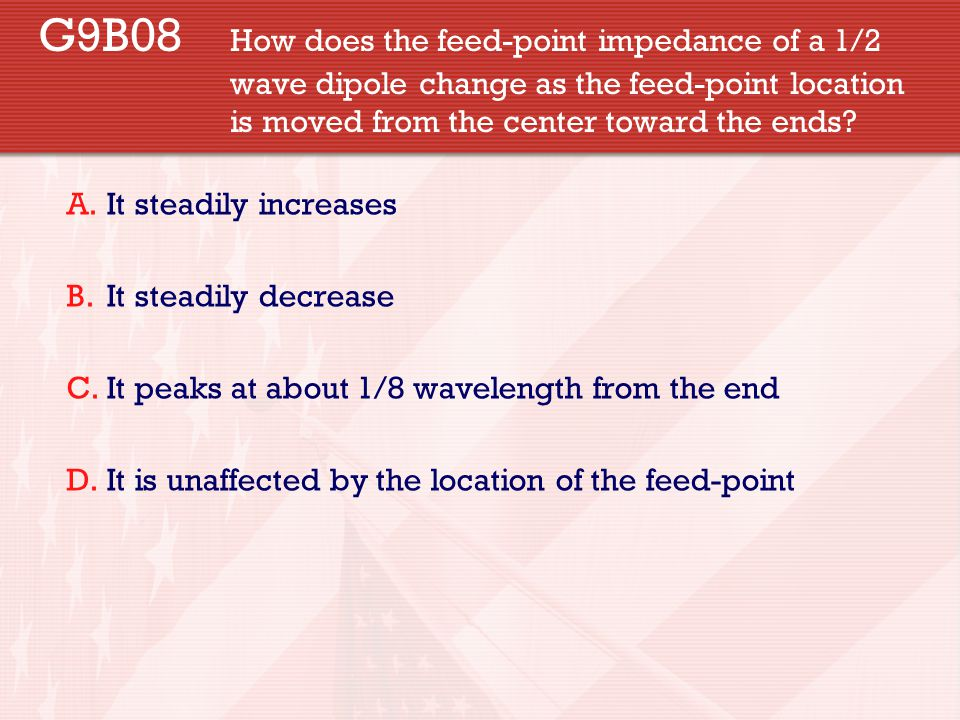 G9B08. How does the feed-point impedance of a 1/2