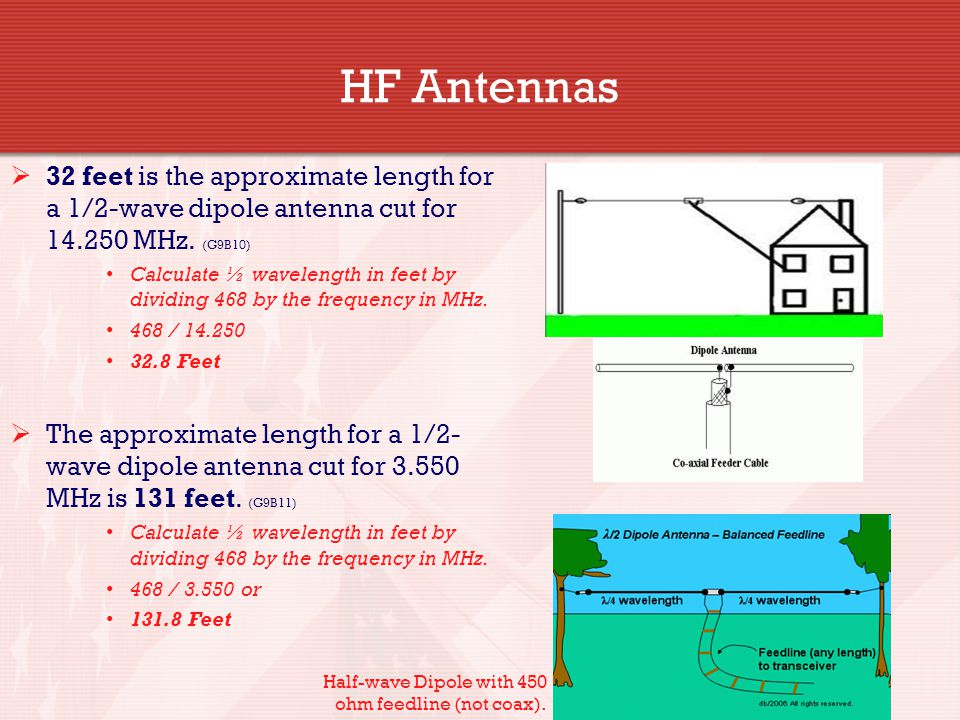 HF Antennas 32 feet is the approximate length for a 1/2-wave dipole antenna cut for 14.250 MHz. (G9B10)