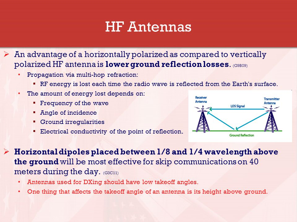HF Antennas An advantage of a horizontally polarized as compared to vertically polarized HF antenna is lower ground reflection losses. (G9B09)