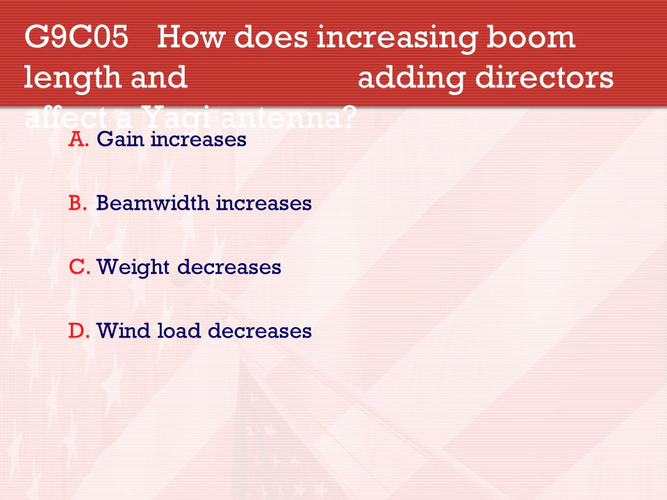 G9C05. How does increasing boom length and