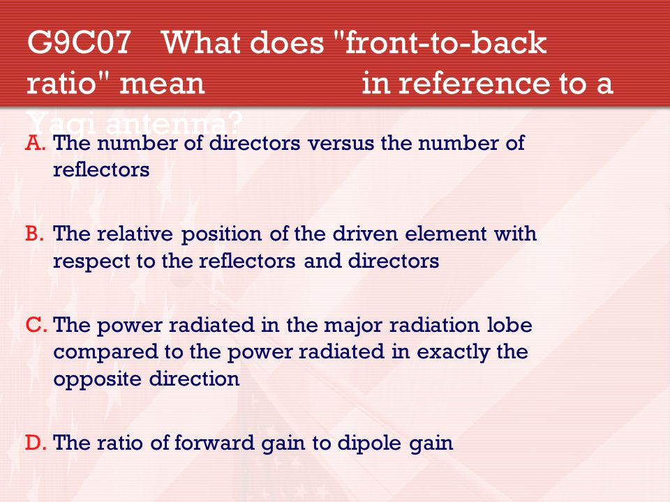 G9C07. What does front-to-back ratio mean