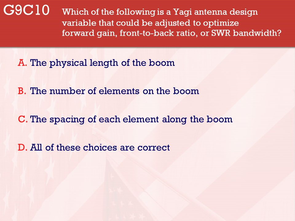 G9C10. Which of the following is a Yagi antenna design