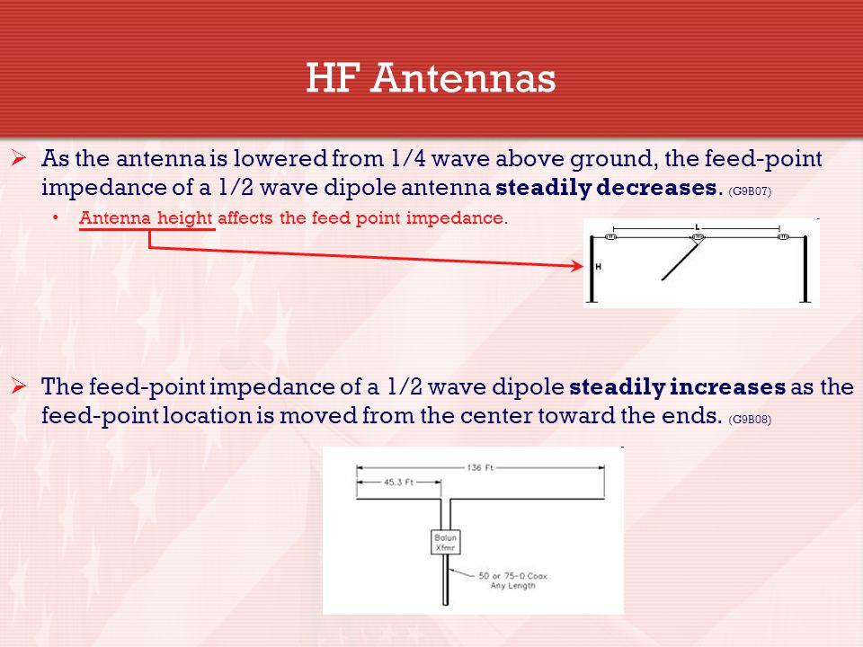 HF Antennas As the antenna is lowered from 1/4 wave above ground, the feed-point impedance of a 1/2 wave dipole antenna steadily decreases. (G9B07)