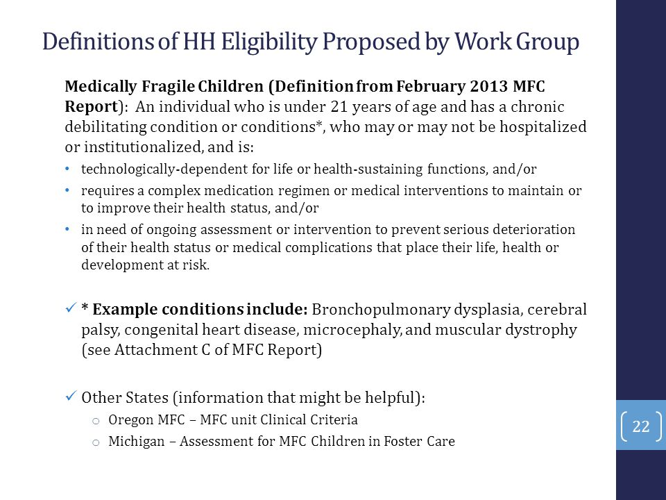 Definitions of HH Eligibility Proposed by Work Group