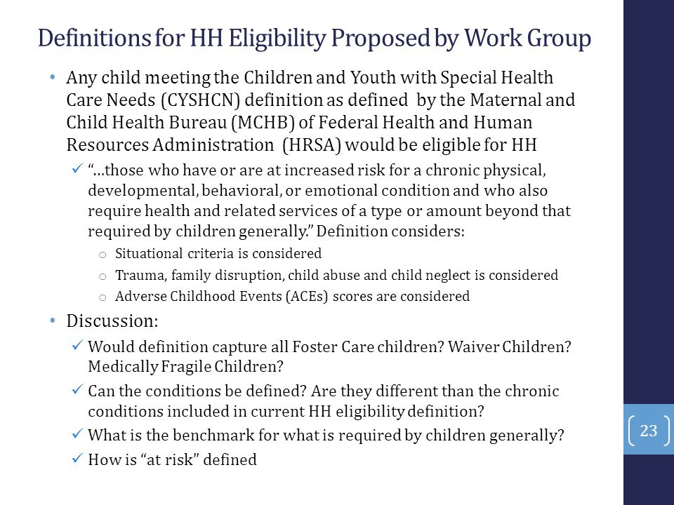 Definitions for HH Eligibility Proposed by Work Group