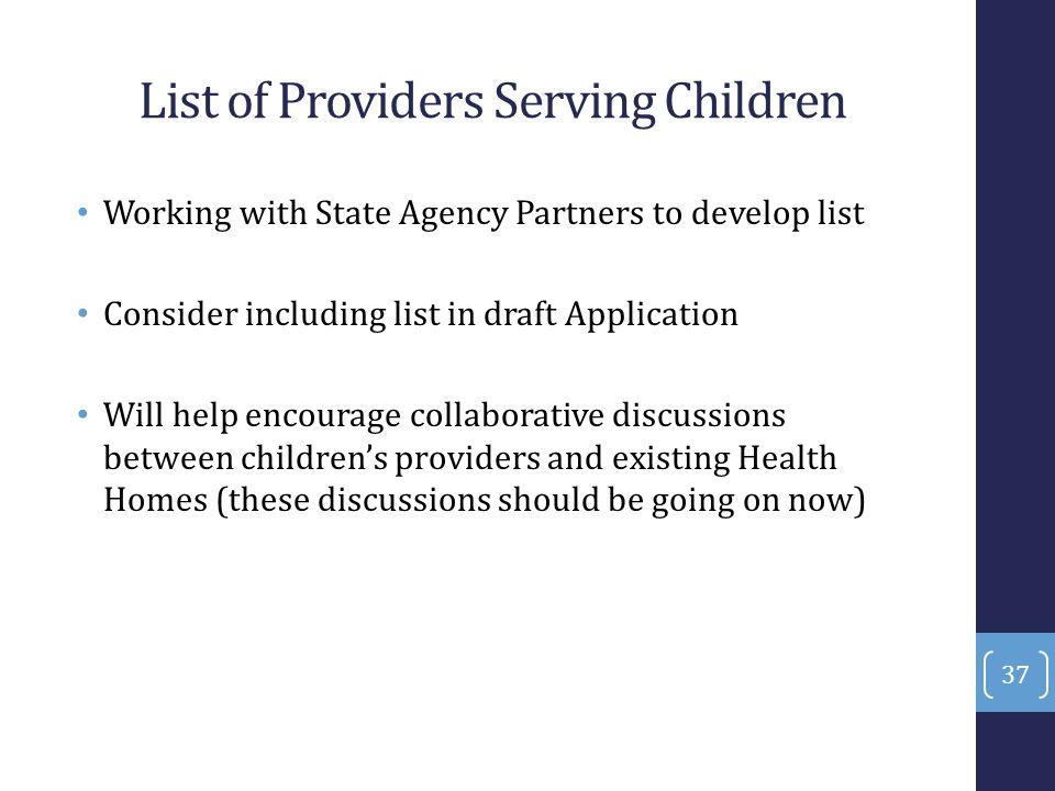 List of Providers Serving Children