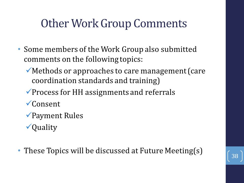 Other Work Group Comments