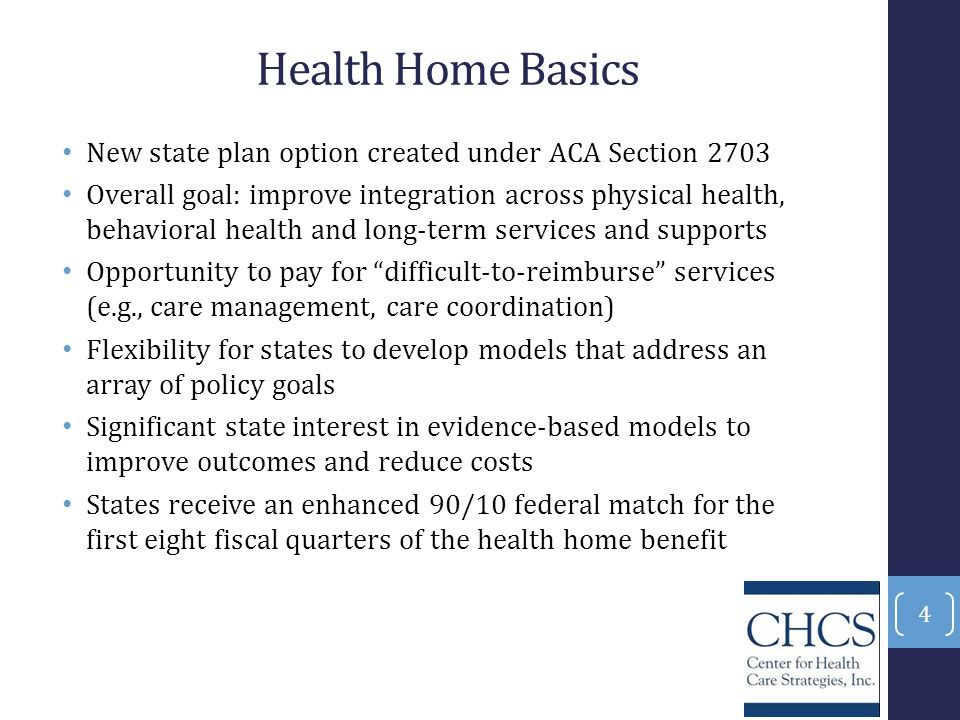 Health Home Basics New state plan option created under ACA Section 2703.
