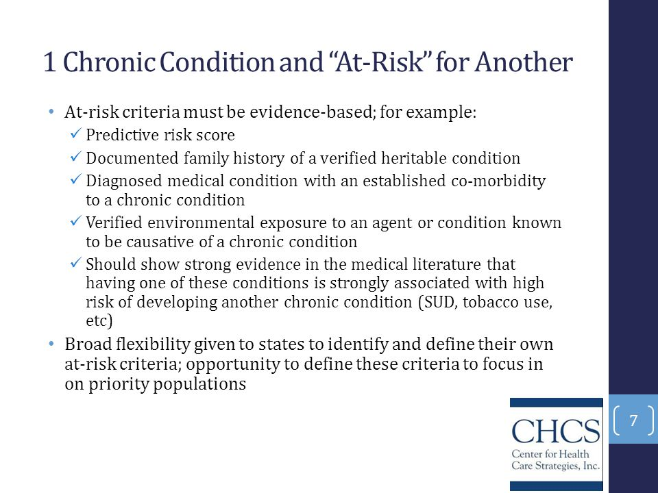 1 Chronic Condition and At-Risk for Another