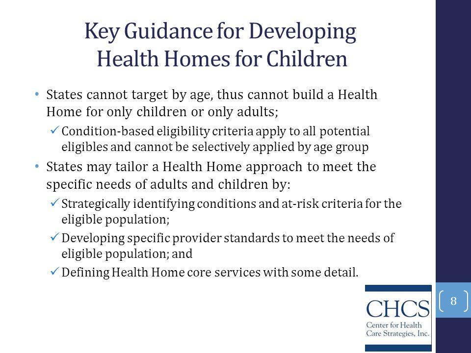 Key Guidance for Developing Health Homes for Children