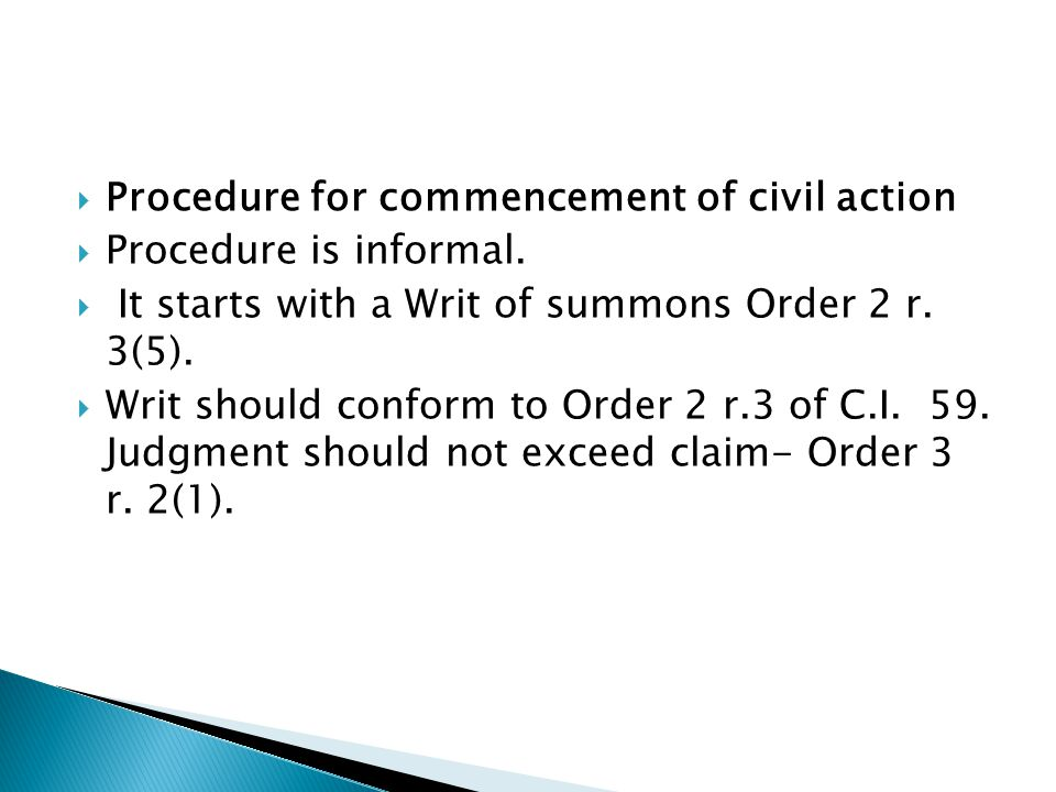 Procedure for commencement of civil action