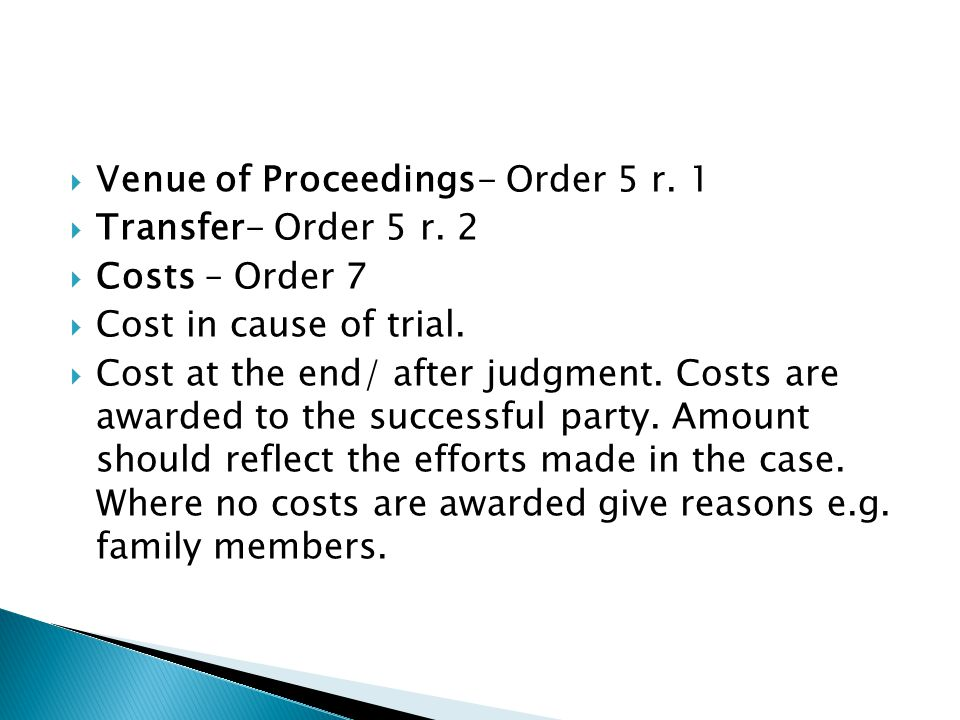 Venue of Proceedings- Order 5 r. 1