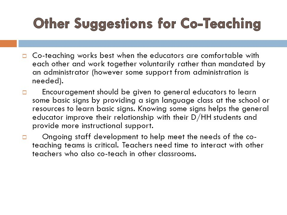 Other Suggestions for Co-Teaching