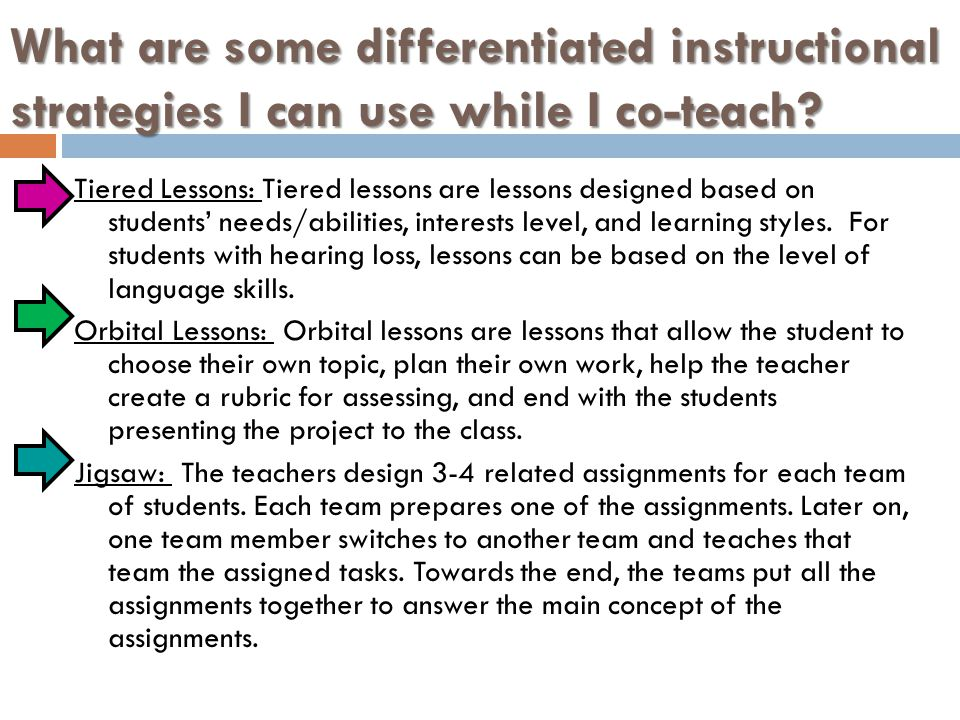 What are some differentiated instructional strategies I can use while I co-teach