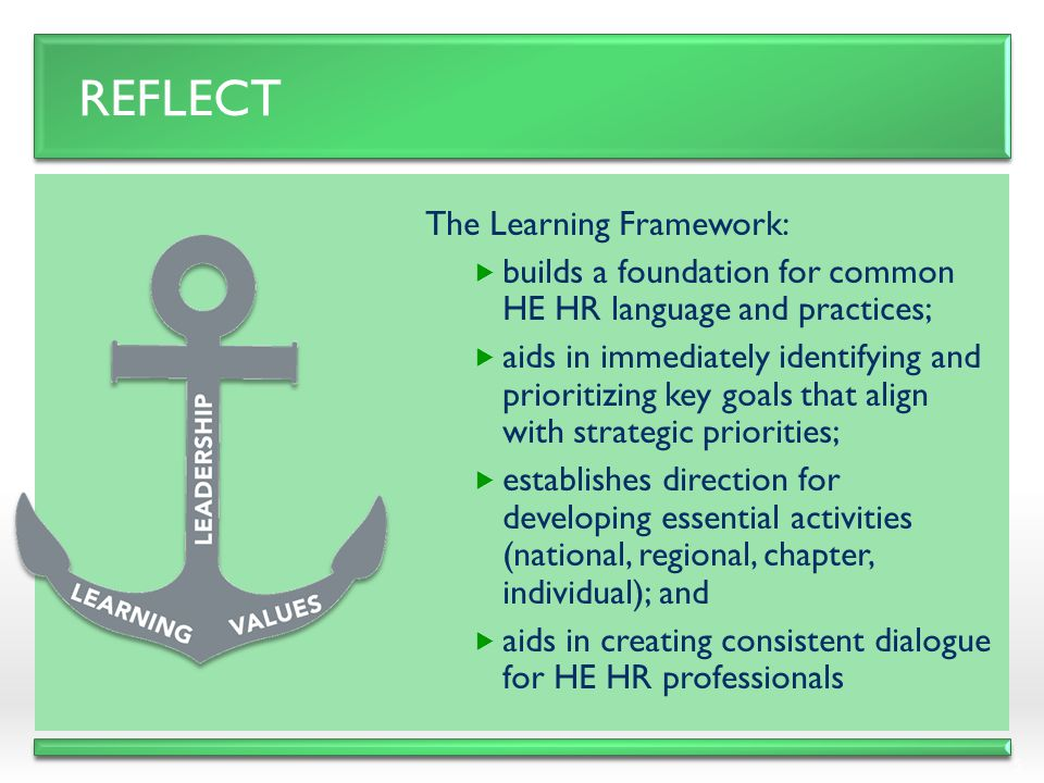 Reflect The Learning Framework: